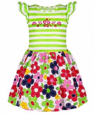 Платье для девочки в полоску Цвет: салатовый