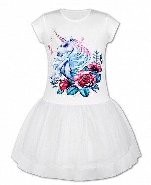 Белое платье с сеткой для девочки Цвет: белый