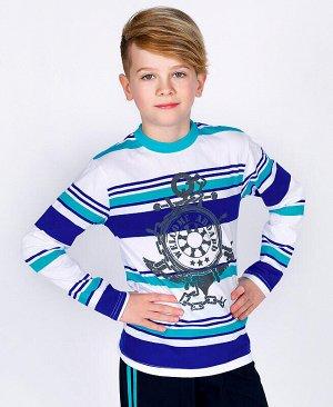 Джемпер для мальчика в полоску Цвет: бирюзовый
