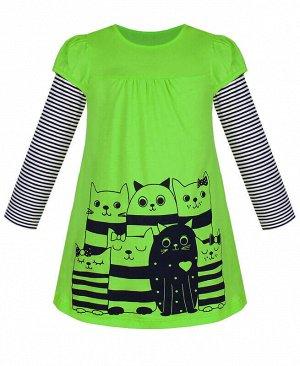 Зеленое платье для девочки Цвет: зеленый