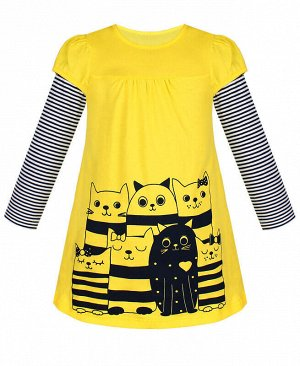 Желтое платье для девочки Цвет: желтый