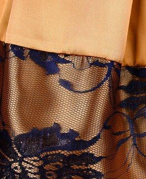 Нарядное золотое платье для девочки с гипюром Цвет: золотой