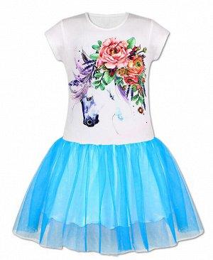 Белое платье для девочки с сеткой Цвет: белый