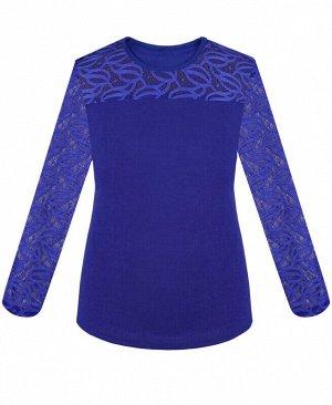 Синий джемпер (блузка) для девочки с гипюром Цвет: синий