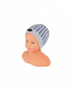 Шапка для мальчика серый+голубой,размер 44/46 Цвет: серый+гол