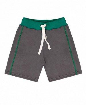 Серые шорты для мальчика Цвет: серый+зелён