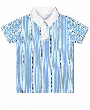 Рубашка-поло для мальчика в полоску Цвет: голубой