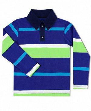 Рубашка-поло для мальчика в полоску Цвет: синий