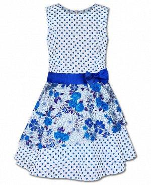 Нарядное платье в горошек для девочки Цвет: белый