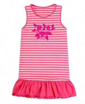 Сарафан в полоску для девочки Цвет: яр.розовый