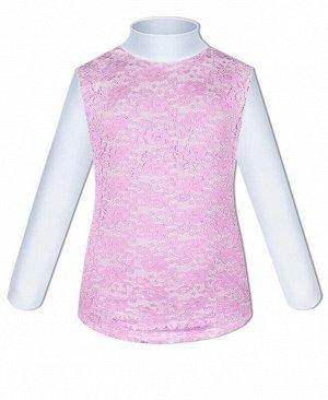 Белая школьная водолазка (блузка) для девочки с гипюром для Цвет: белый