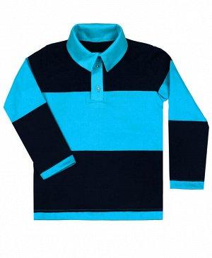 Рубашка-поло для мальчика в полоску Цвет: бирюзовый