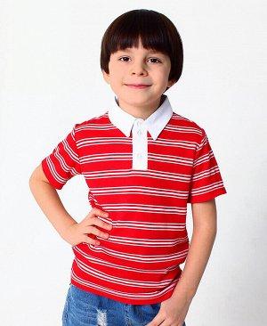 Рубашка-поло для мальчика в полоску Цвет: красный