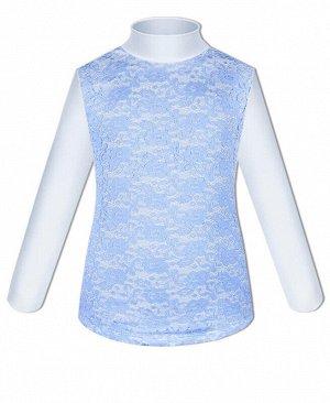 Белая водолазка (блузка) для девочки с голубым гипюром Цвет: Голубой