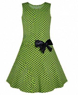 Зеленое платье в горошек для девочки Цвет: зеленый+горох