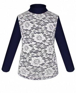 Синяя водолазка (блузка) для девочки с белым гипюром Цвет: белый
