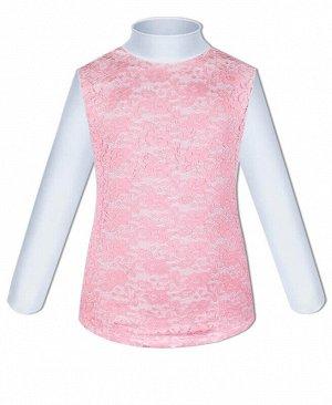 Белая водолазка (блузка) для девочки с розовым гипюром Цвет: розовый