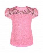 Розовая футболка (блузка) для девочки с гипюром Цвет: розовый