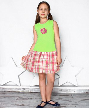 Салатовый сарафан для девочки Цвет: салат+коралл
