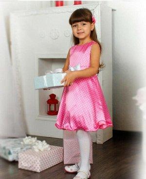 Розовое платье в горошек для девочки Цвет: розовый
