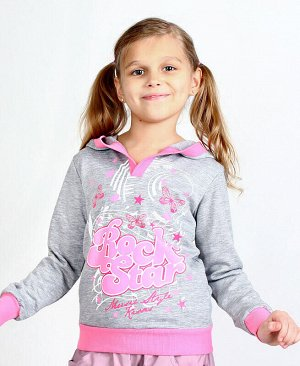 Серый джемпер для девочки Цвет: серый+роз.