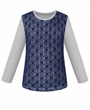 Джемпер (блузка) для девочки с тёмно-синим гипюром Цвет: тёмно-синий