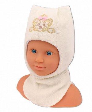 Шлем-шапка для девочки Цвет: молочный