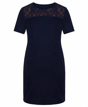 Синее школьное платье для девочки с гипюром Цвет: тёмно-синий