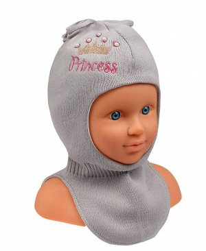 Шапка-шлем для девочки Цвет: серый