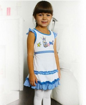 Белый сарафан для девочки Цвет: белый+голубой
