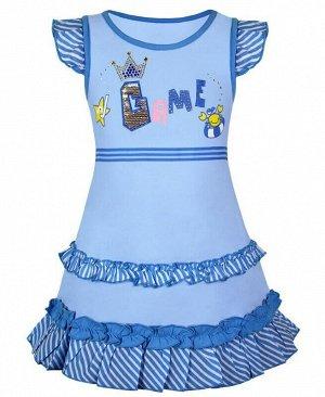 Голубой сарафан для девочки Цвет: голубой+бел.
