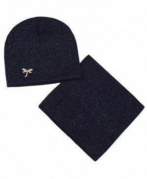 Комплект для девочки (шапка+снуд) Цвет: синий
