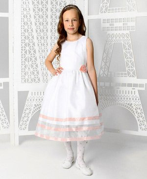 Белое платье для девочки с персиковыми лентами Цвет: белый