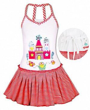 Красный сарафан для девочки Цвет: белый+красн.