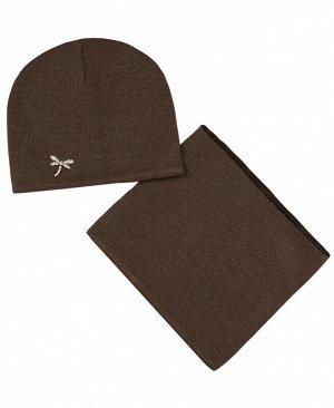 Комплект для девочки (шапка+снуд) Цвет: коричневый