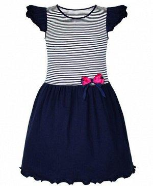 Платье для девочки в полоску Цвет: полоска+т.син