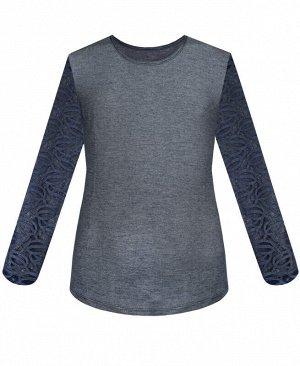 Джинсовый джемпер (блузка) с гипюром для девочки Цвет: серый