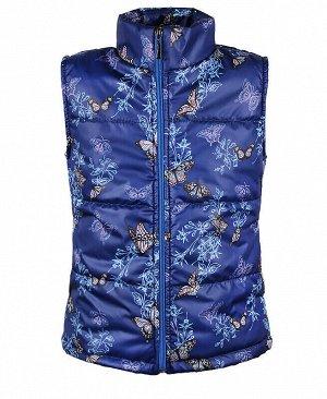 Синий теплый жилет для девочки Цвет: синий
