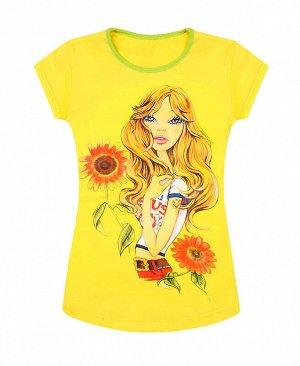 Жёлтая футболка для девочки с принтом Цвет: жёлтый