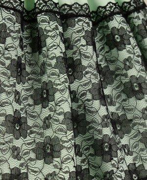 Ментоловое нарядное платье для девочки с гипюром Цвет: светло-салатовый