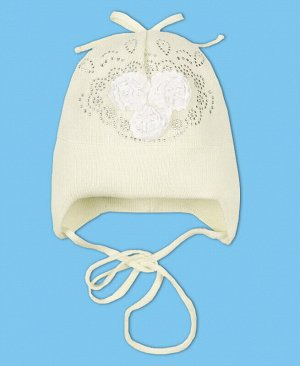 Шапка молочная для девочки Цвет: экрю