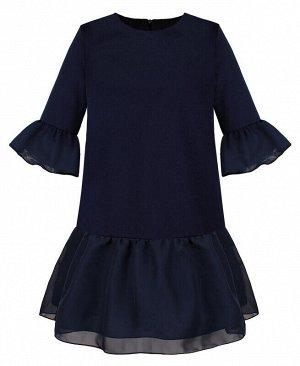 Синее школьное платье для девочки Цвет: тёмно-синий