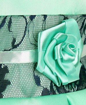 Ментовое нарядное платье для девочки с гипюром Цвет: ментоловый