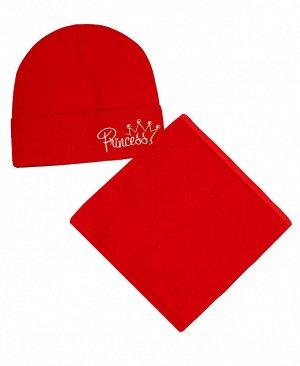 Комплект для девочки (шапка+снуд) Цвет: красный