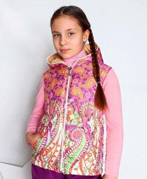 Теплый жилет с капюшоном для девочки Цвет: микс