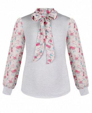 Джемпер (блузка) для девочки с шифоном Цвет: св.серый
