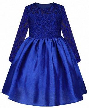 Нарядное синее платье для девочки с гипюром Цвет: синий