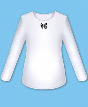 Школьный белый джемпер (блузка) с бантиком для девочки Цвет: белый