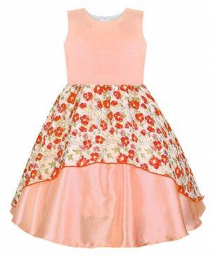 Нарядное персиковое платье для девочки Цвет: оранжевый