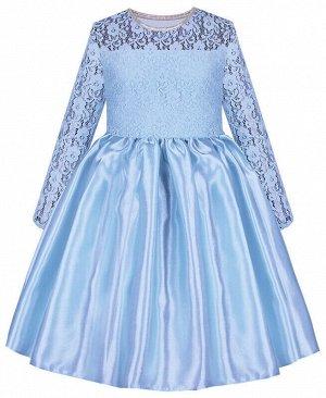 Голубое нарядное платье для девочки с гипюром Цвет: Голубой
